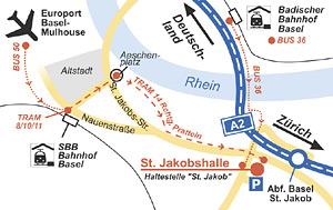 Anfahrtsskizze  Basel in Visitenkartengröße für die Joyce Meyer e.V. durch Werbeagentur designbetrieb aus Essen