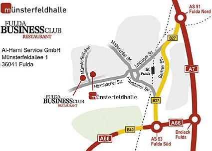 Wegbeschreibung / Anfahrtsskizze zur Münsterfeldhalle in Fulda. Umsetzung durch Spezialist für individuelle Anfahrtsskizzen designbetrieb aus Essen