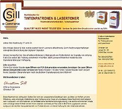 Webdesign-Agentur in Essen entwickelt individuelle E-Mail-Vorlage für CSill e-Commerce