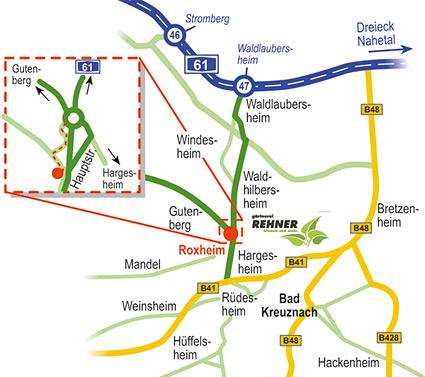 Werbeagentur designbetrieb aus Essen Anfahrtsskizze zur Gärtnerei Rehner nach Roxheim