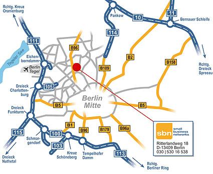 Anfahrtsskizze zu sbn small business networks in Berlin von Webdesign-Agentur designbetrieb aus Essen