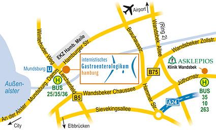 Anfahrtsskizze Hamburg  für eine Arztpraxis in Hamburg inkl. Asklepios-Klinik