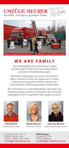 WE AE FAMILY! Zeitungsanzeige für Umzüge Meurer aus Oberhausen