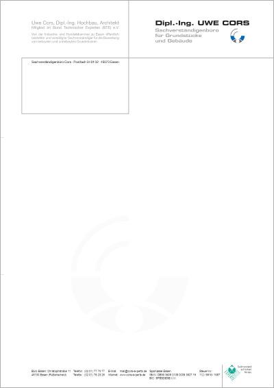 Briefpapier mit Wasserzeichen für Sachverständigenbüro Uwe Cors