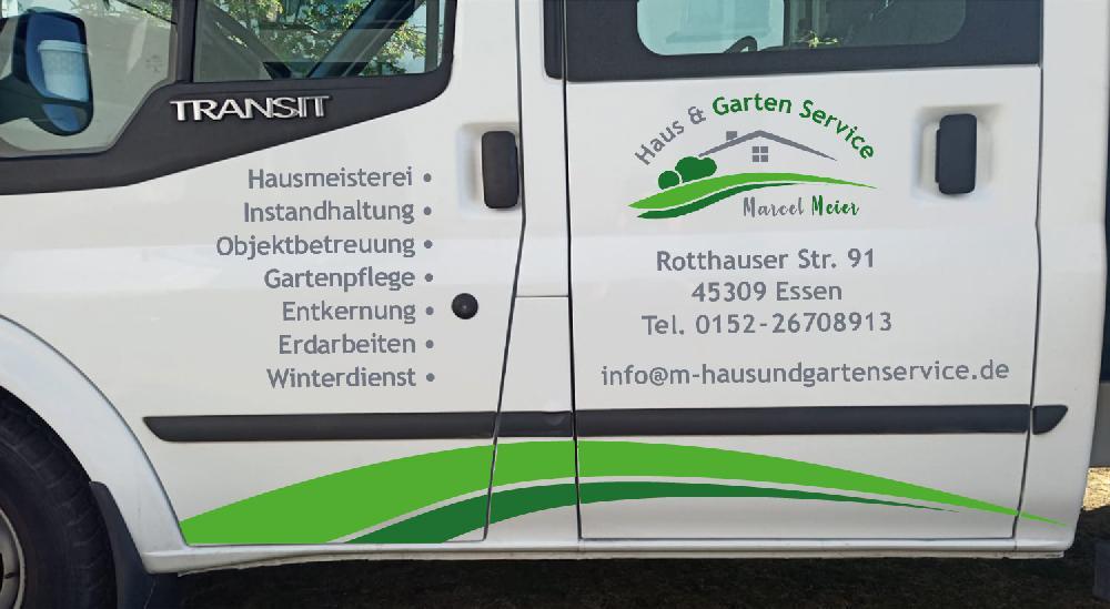 Fahrzeugbeschriftung Ford Transit für Marcel Meier von H.D.E Haus & Gartenservice in Essen