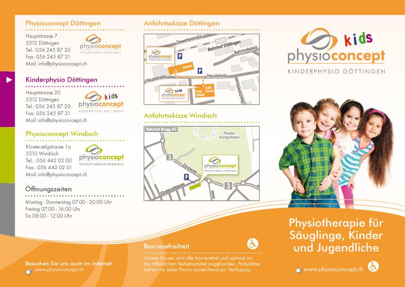 designbetrieb aus Essen entwickelt CI-gerechten Flyer für Physioconcept Döttingen in Döttingen (Schweiz)