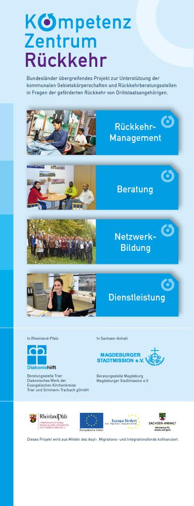 Roll Up Entwicklung (Design & Umsetzung) für die Kompetenzzentrum Rückkehr-Beratungsstelle Trier und Beratungsstelle Magdeburg