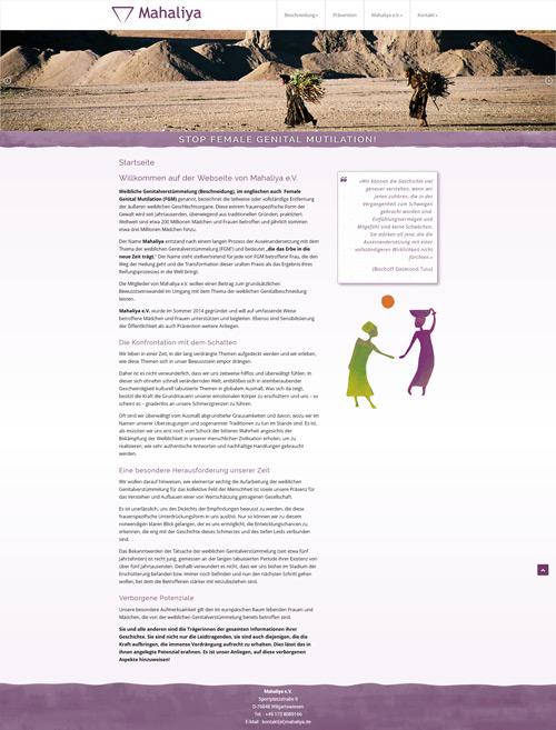 Responsive Webseite für Mahaliya e.V. www.mahaliya.de