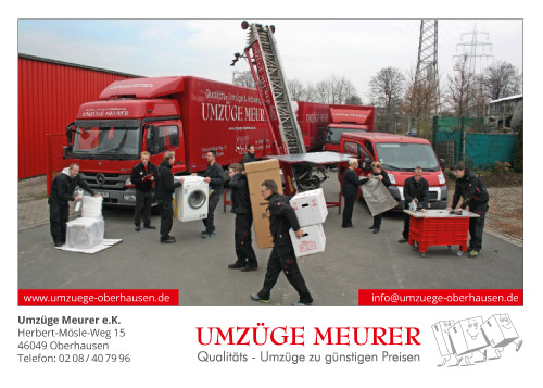 WE AE FAMILY! Image-Postkarte für Umzüge Meurer aus Oberhausen