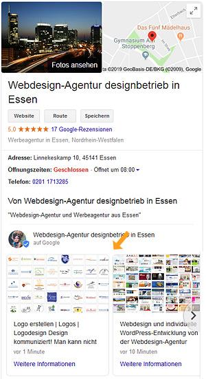 So sieht der Eintrag in Ihrer Google-Visitenkarte aus