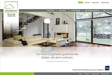 Webdesign-Agentur designbetrieb aus Essen realisiert umfangreiches Webupdate für www.reuter-immobilien.info