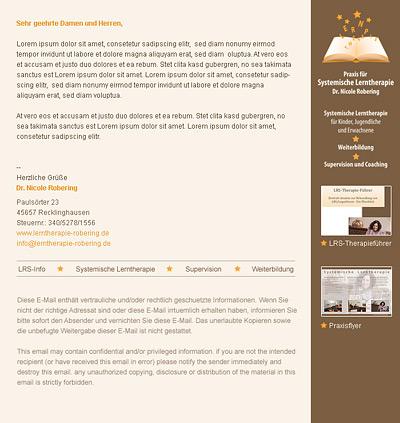 Webdesign-Agentur in Essen entwickelt individuelle E-Mail-Vorlage für Lerntherapie Robering