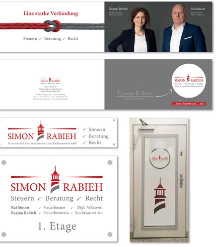 Corporate Design, Logo-Entwicklung, Visitenkarten, Briefbogen, Anzeigen und Promo-Karten, Schilder und Türbeschriftung für Steuerberaterkanzlei SIMON & RABIEH aus Hamburg Harburg