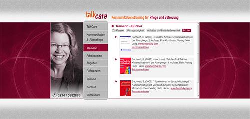 Essener Webdesign-Agentur designbetrieb relauncht www.talkcare.de / Svenja Sachweh