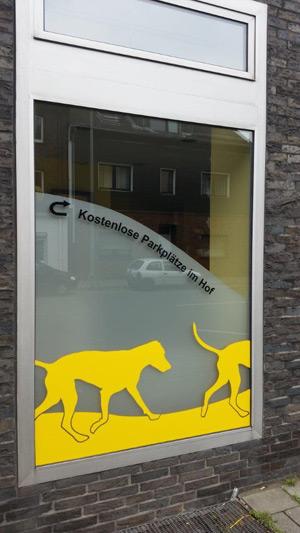 Schaufensterbeschriftung Tierärzte Rehmann und Scheffler in Oberhausen