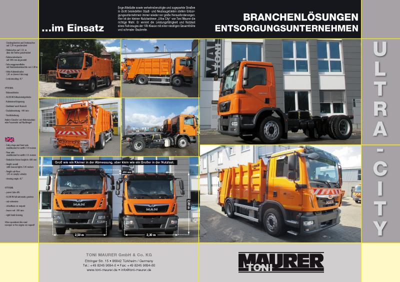 Produktbroschüre für Bau- und Kranfahrzeuge für die Toni Maurer GmbH & Co. KG