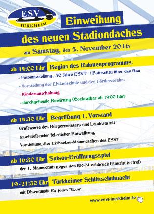 Flyer für Einweihung des neuen Stadiondaches des ESV in Türkheim entwickelt