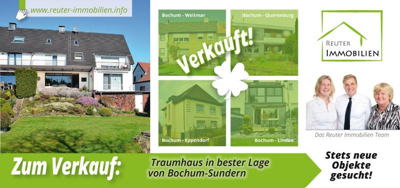 Reuter Immobilien setzt auf neue Werbe-Postwurfsendung über die zu verkaufenden Traumhaus in bester Lage von Bochum-Sundern!