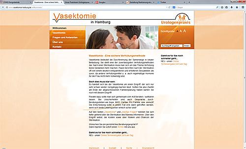 Relaunch von Vasektomie-Homepage www.vasektomie-harburg.de, DSGVO-konform und mobilfähig (im responsive webdesign)