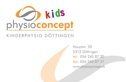 designbetrieb aus Essen erstellt Visitenkarte für Physioconcept in Döttingen (Schweiz)
