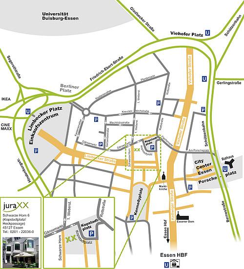 Anfahrtsskizze für die Rechtsanwaltskanzlei juraXX aus Essen durch Webdesign-Agentur aus Essen