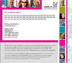 Webdesign-Agentur in Essen entwickelt individuelle E-Mail-Vorlage für Stark.Mit.Stil