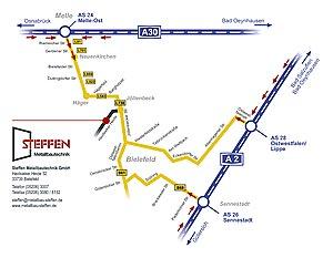 Anfahrtsskizze für Metallbau Steffen in Bielefeld von Werbeagentur designbetrieb