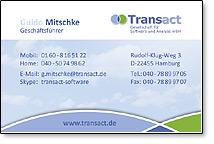 Transact Visitenkarten erstellt