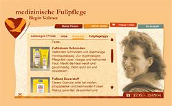 Webdesign-Agentur designbetrieb aus Essen entwickelt Voll-Flash-Webseite mit alternativem barrierefreiem Zugang www.fusspflege-vollmer.de für die mobile Fußpflege in Gelsenkirchen Birgitt Vollmer