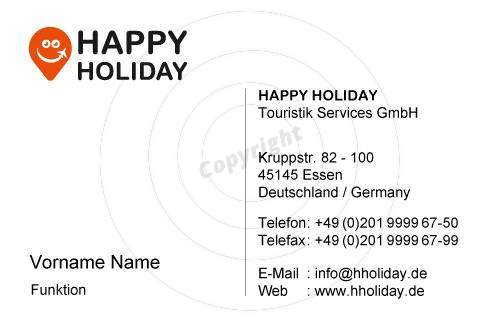 Visitenkarten Happy Holiday
